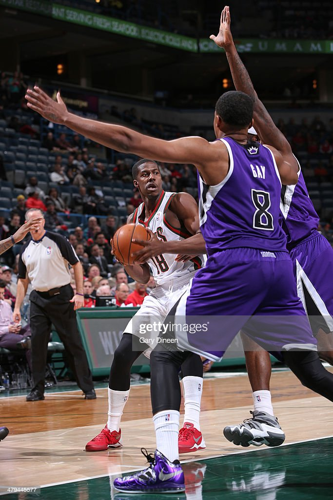 Tony Mitchell #18 of the Milwaukee Bucks handles the ball against the Sacramento Kings on March 5, 2014 at the BMO Harris Bradley Center in Milwaukee, Wisconsin.