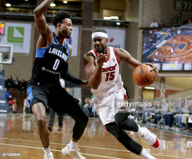 Tony Mitchell of the Sioux Falls Skyforce drives to the basket against Jamel Artis of the Lakeland Magic during an NBA GLeague game on November 6...