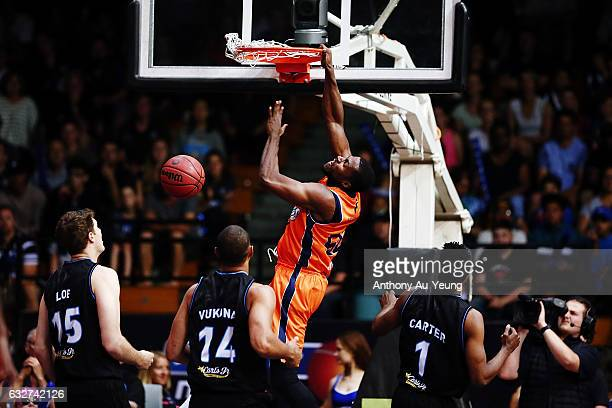 Tony Mitchell of the Taipans throws down a dunk during the round 17 NBL match between the New Zealand Breakers and the Cairns Taipans at the North...