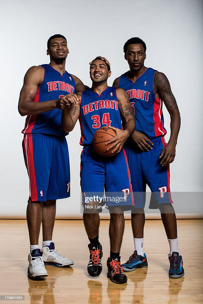 Tony Mitchell #9, Peyton Siva #34, and Kentavious Caldwell-Pope #5, of the Detroit Pistons pose for a portrait during the 2013 NBA rookie photo shoot at the MSG Training Center on August 6, 2013 in Greenburgh, New York.