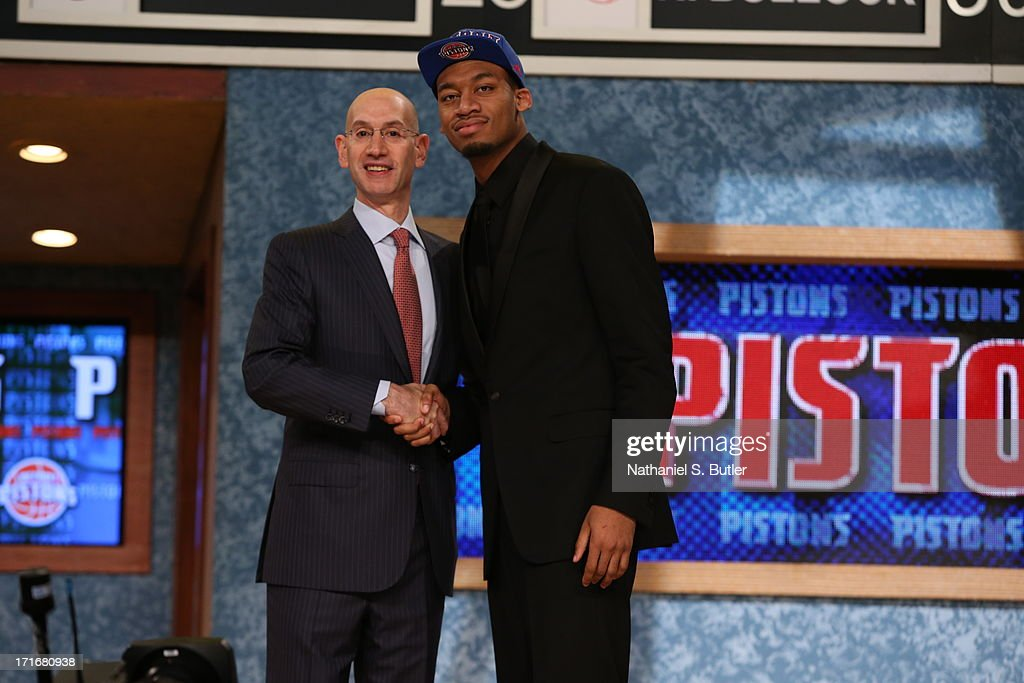 Tony Mitchell shakes hands with NBA Deputy Commissioner, Adam Silver after being selected number thirty seventh overall by the Detroit Pistons during the 2013 NBA Draft on June 27, 2013 at Barclays Center in Brooklyn, New York.
