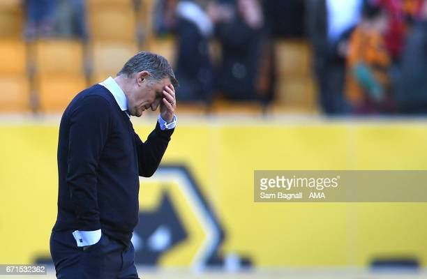 Tony Mowbray manager / head coach of Blackburn Rovers reacts at full time during the Sky Bet Championship match between Wolverhampton Wanderers and...