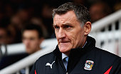 Tony Mowbray manager of Coventry City looks on during the Sky Bet League One match between Peterborough United and Coventry City at ABAX Stadium on...