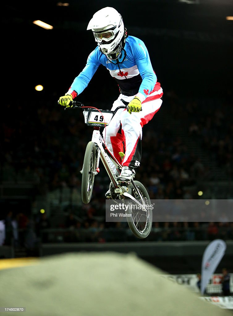 Tony Nyhaug of Canada competes in the Elite Mens time trial during day four of the UCI BMX World Championships at Vector Arena on July 27, 2013 in Auckland, New Zealand.