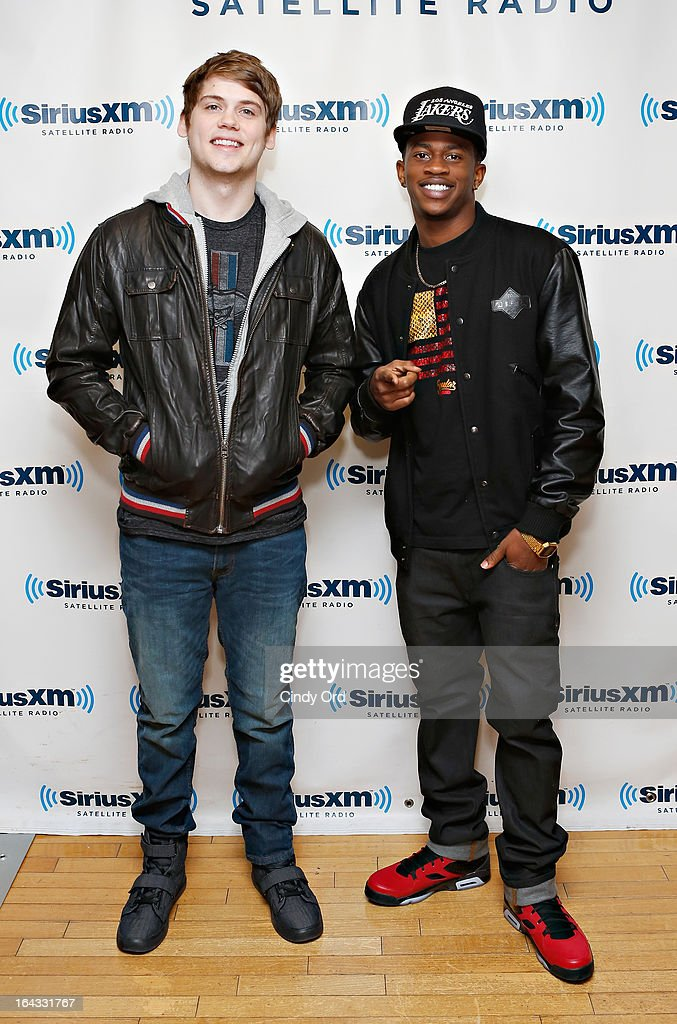 Tony Oller and <a gi-track='captionPersonalityLinkClicked' href=/galleries/search?phrase=Malcolm+David+Kelley&family=editorial&specificpeople=595211 ng-click='$event.stopPropagation()'>Malcolm David Kelley</a> of MKTO visit the SiriusXM Studios on March 22, 2013 in New York City.
