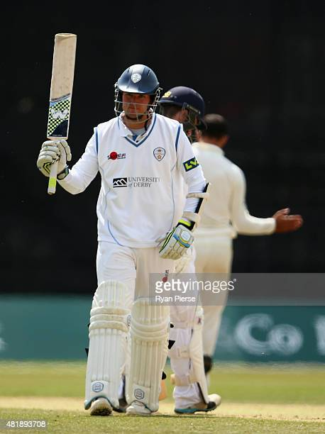 Tony Palladino of Derbyshire celebrates after reaching his half century during day three of the Tour Match between Derbyshire and Australia at The...