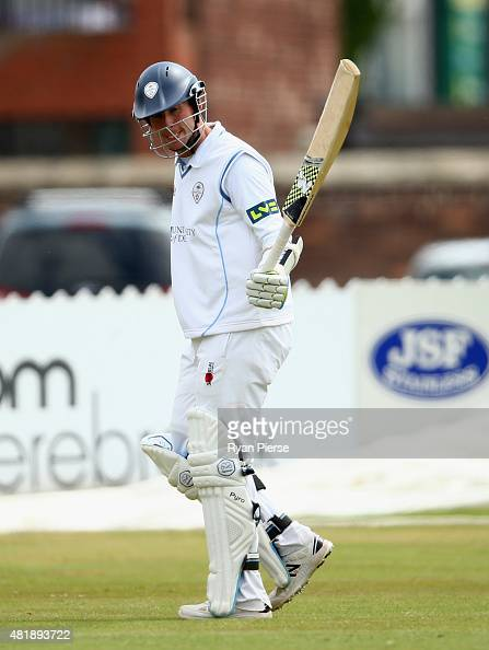 Tony Palladino of Derbyshire leaves the ground after being dismissed for 82 runs during day three of the Tour Match between Derbyshire and Australia...
