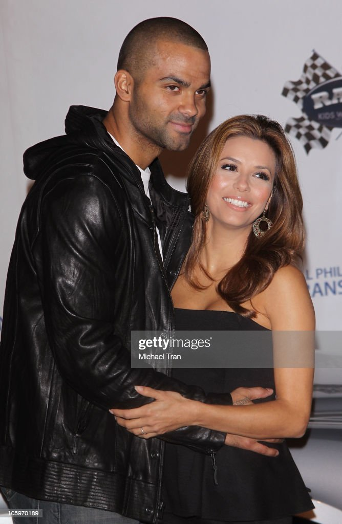 Tony Parker and Eva Longoria Parker arrive at the Rally For Kids With Cancer 'The Qualifiers' Celebrity Draft Party held at The Roosevelt Hotel on...