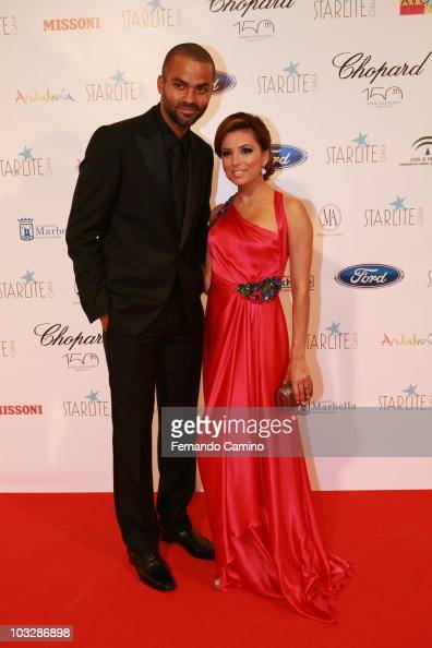 Tony Parker and Eva Longoria Parker attend Starlite Gala on August 7 2010 in Benahavis Spain