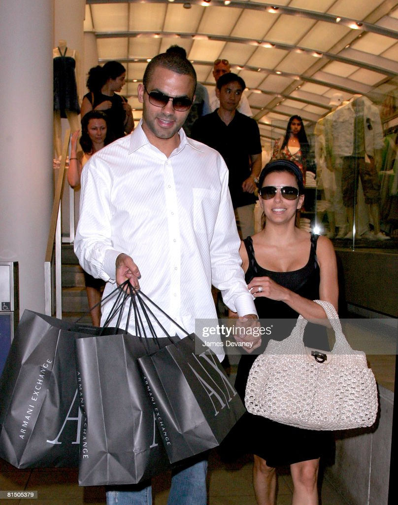 Tony Parker and Eva Longoria Parker shop at A|X Armani Exchange on June 9 2008 in Manhattan borough of New York City