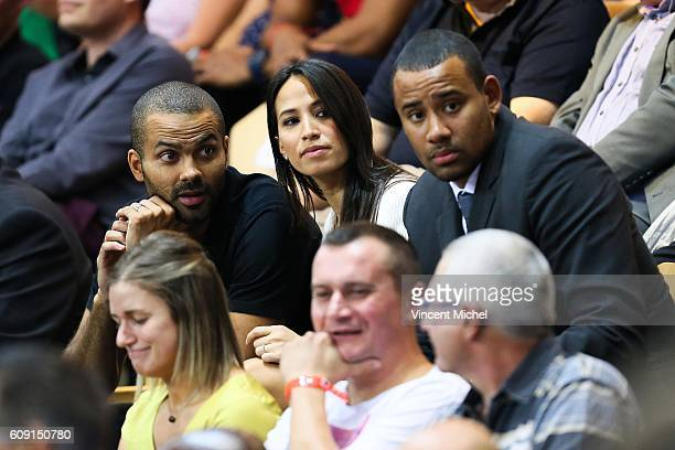 Tony Parker and his wife of LyonVilleurbanne during the Basketball Champions Game between Lyon Villeurbanne and Le Mans on September 20 2016 in...
