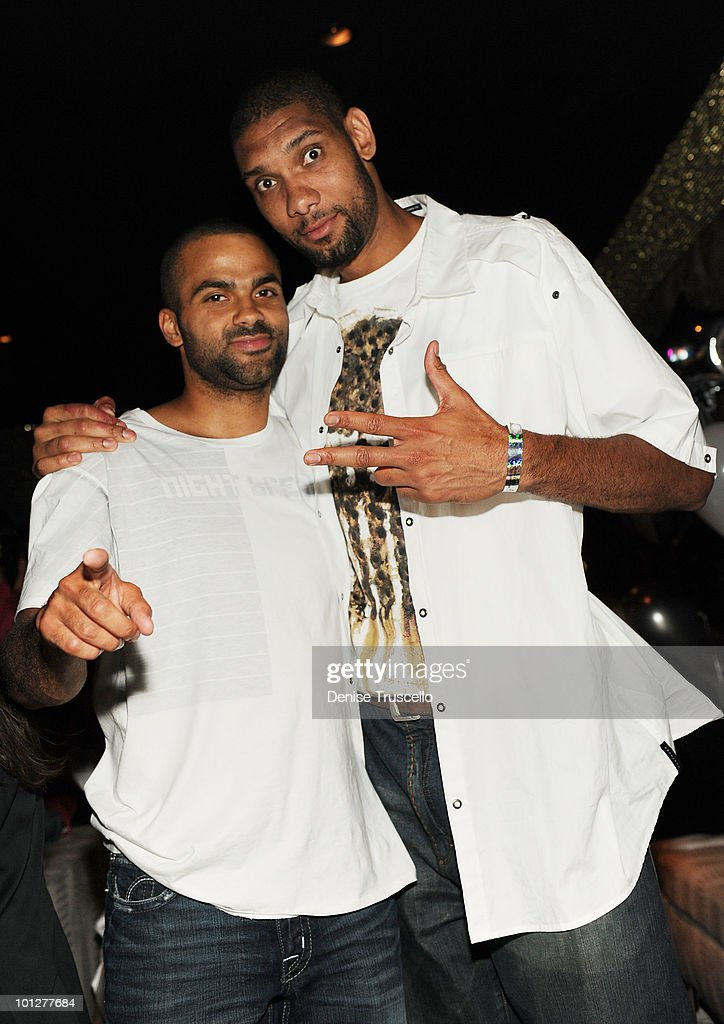 Tony Parker (L) and <a gi-track='captionPersonalityLinkClicked' href=/galleries/search?phrase=Tim+Duncan&family=editorial&specificpeople=201467 ng-click='$event.stopPropagation()'>Tim Duncan</a> attend Eve Nightclub at Crystals at CityCenter on May 29, 2010 in Las Vegas, Nevada.