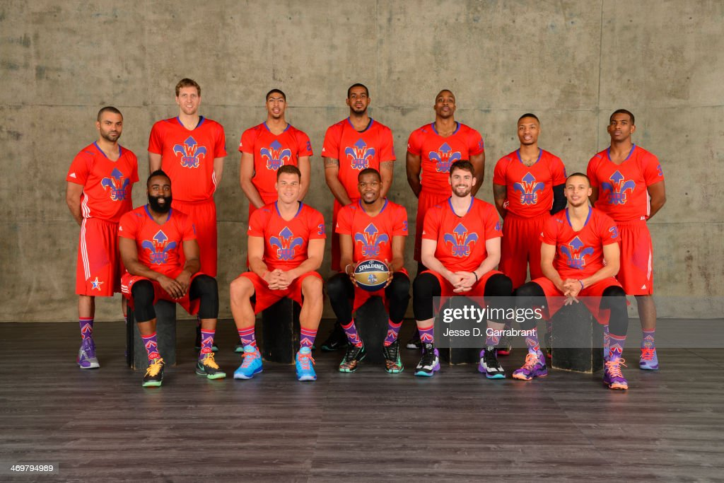 Tony Parker #9 , Dirk Nowitzki, Anthony Davis #23, LaMarcus Aldridge #12, Dwight Howard #12, Damian Lillard #0, Chris Paul #3, James Harden #13, Blake Griffin #32, Kevin Durant #35, Kevin Love #42 and Stephen Curry #30 of the Western Conference All-Stars pose for a portrait prior to the 2014 NBA All-Star Game on February 16, 2014 at the Smoothie King Center in New Orleans, Louisiana.