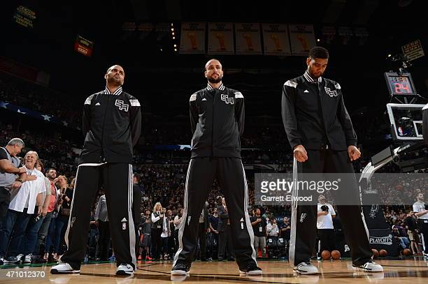 Tony Parker Manu Ginobili and Tim Duncan of the San Antonio Spurs before the game against the Los Angeles Clippers during Game Three of the Western...