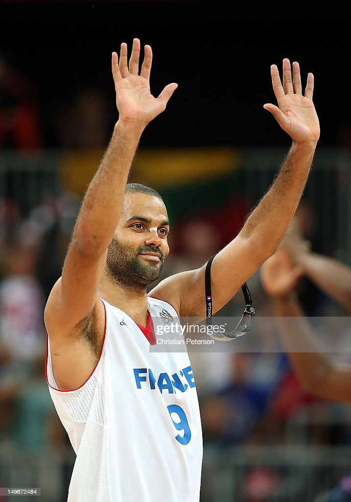Tony Parker of France celebrates after defeating Lithuania 8274 during the Men's Basketball Preliminary Round match on Day 6 of the London 2012...