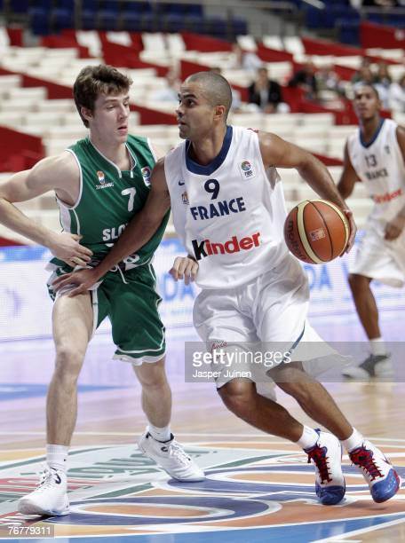 Tony Parker of France drives around Goran Dragic of Slovenia during the FIBA Eurobasket 2007 match for placings 7th and 8th between Slovenia and...