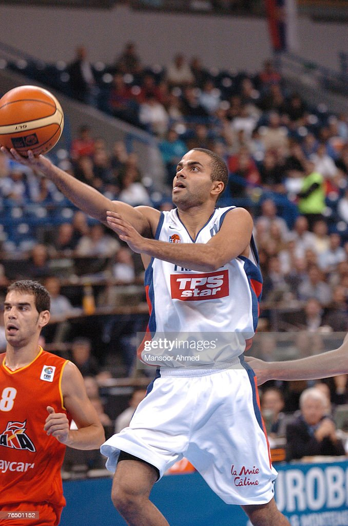 Tony Parker of France extends himself for the basket during the Bronze medal match of the European Basketball Championships at the Belgrade Arena, Belgrade, Serbia & Montenegro, 24th September 2005.