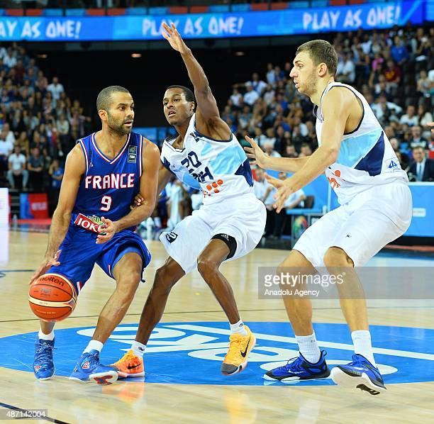 Tony Parker of France in action against Bosnia's Alex Renfroe during the EuroBasket 2015 group A match between Bosnia and Herzegovina France at the...