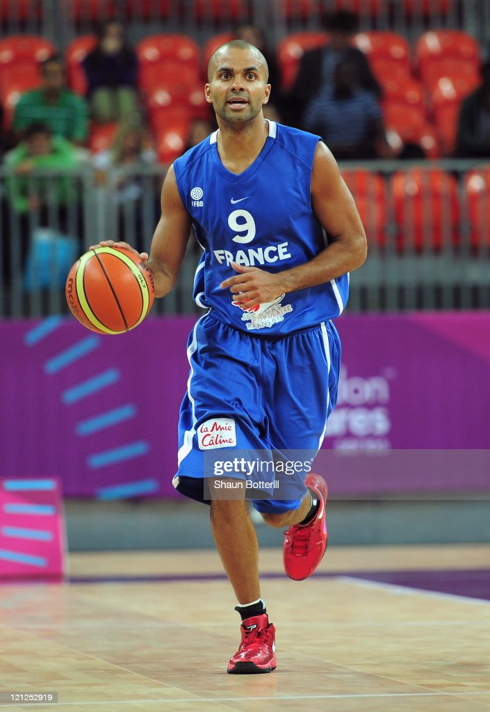 Tony Parker of France in action during the London Prepares Series match between Great Britain and France at the Basketball Arena on August 16 2011 in...