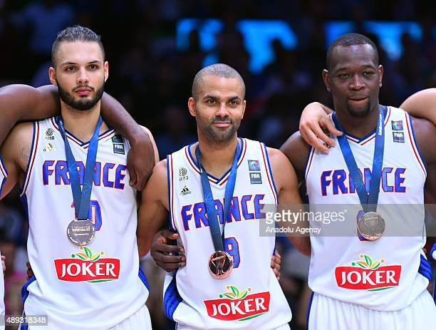 Tony Parker of France poses after winning bronze against Serbia during the EuroBasket 2015 Bronze medal match at the Pierre Mauroy Stadium in Lille...