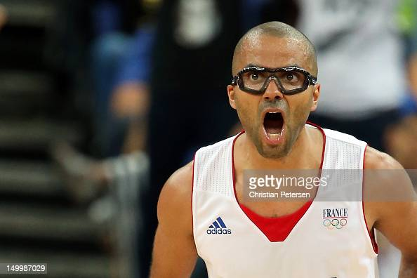 Tony Parker of France reacts in the second half while taking on Spain during the Men's Basketball quaterfinal game on Day 12 of the London 2012...