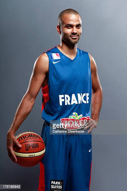 Tony Parker of the French Men's National basketball team poses for a portrait during the team's annual studio shoot at INSEP on July 21 2013 in Paris...