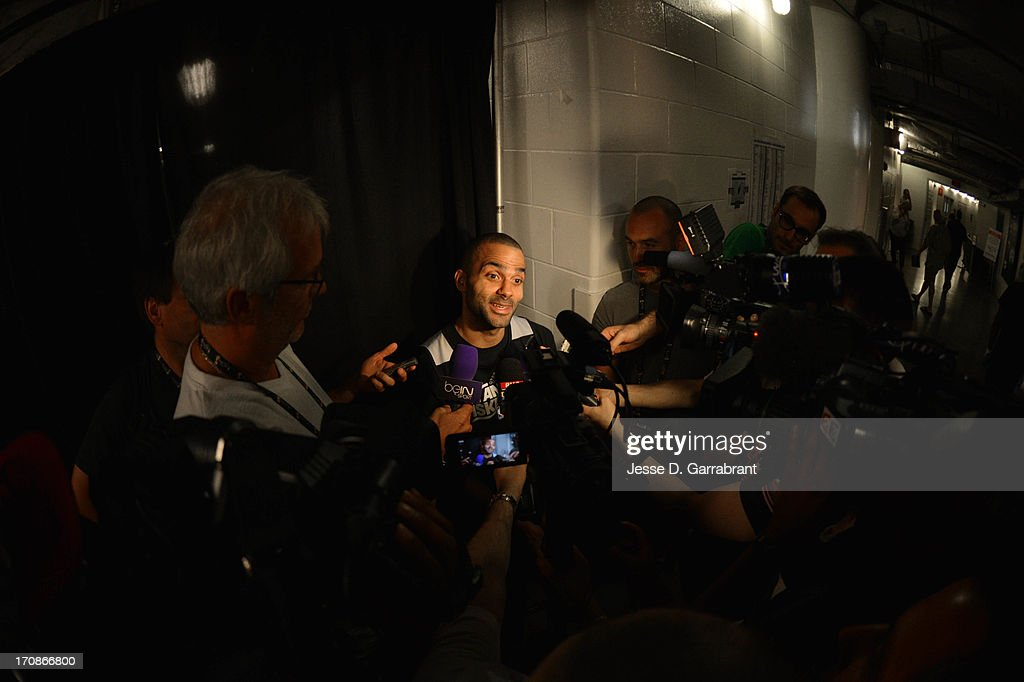 Tony Parker of the San Antonio Spurs addresses the media as part of the 2013 NBA Finals on June 19, 2013 at American Airlines Arena in Miami, Florida.