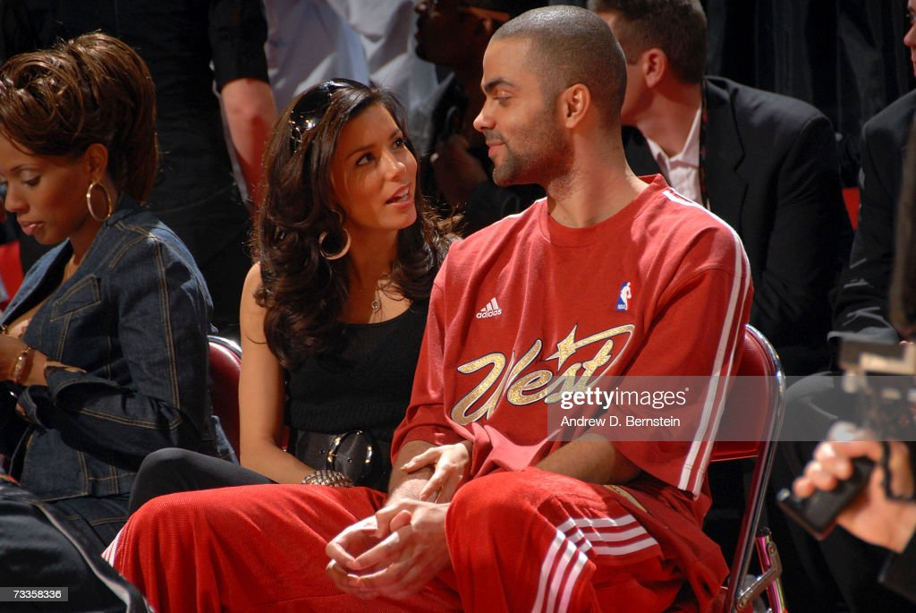Tony Parker of the San Antonio Spurs and actress Eva Longoria sit courtside at the NBA AllStar Weekend at Thomas Mack Center February 17 2007 in Las...