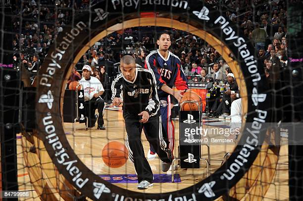 Tony Parker of the San Antonio Spurs and Devin Harris of the New Jersey Nets participate in the Play Station Skills Challenge on AllStar Saturday...