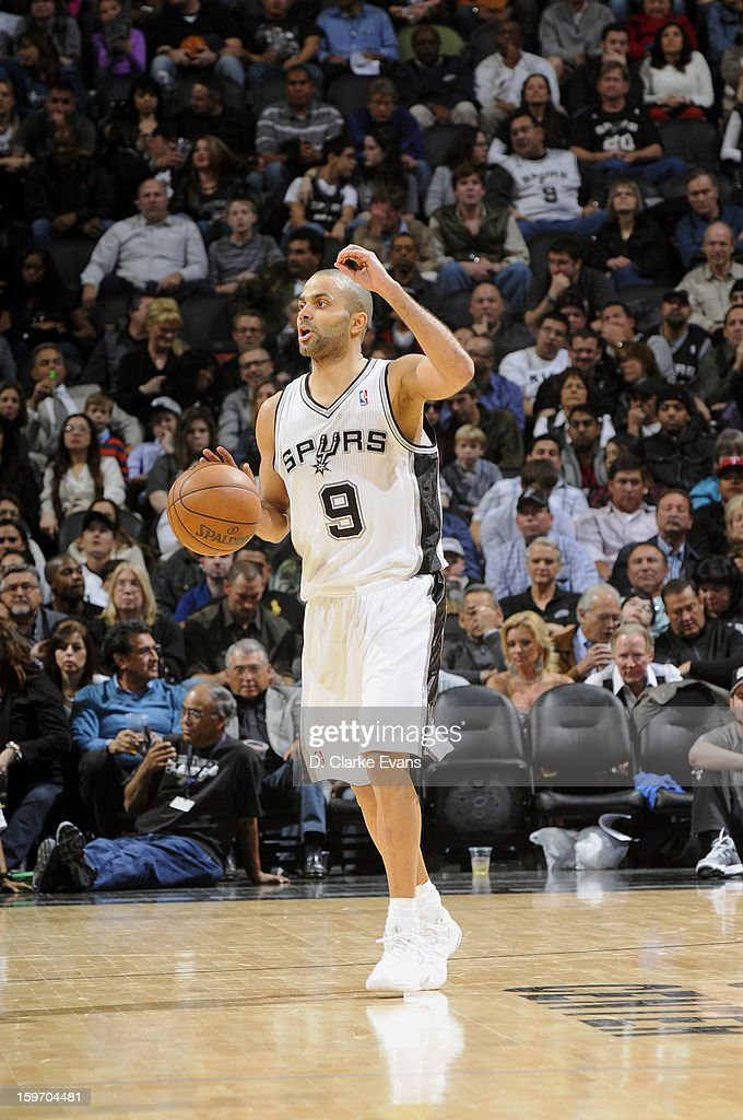 Tony Parker #9 of the San Antonio Spurs calls a play in a game against the Golden State Warriors on January 18, 2013 at the AT&T Center in San Antonio, Texas.