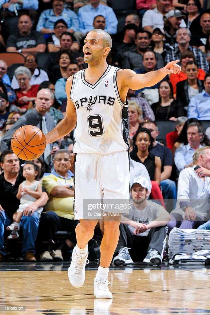 Tony Parker #9 of the San Antonio Spurs calls a play out to his teammates against the Utah Jazz on March 22, 2013 at the AT&T Center in San Antonio, Texas.
