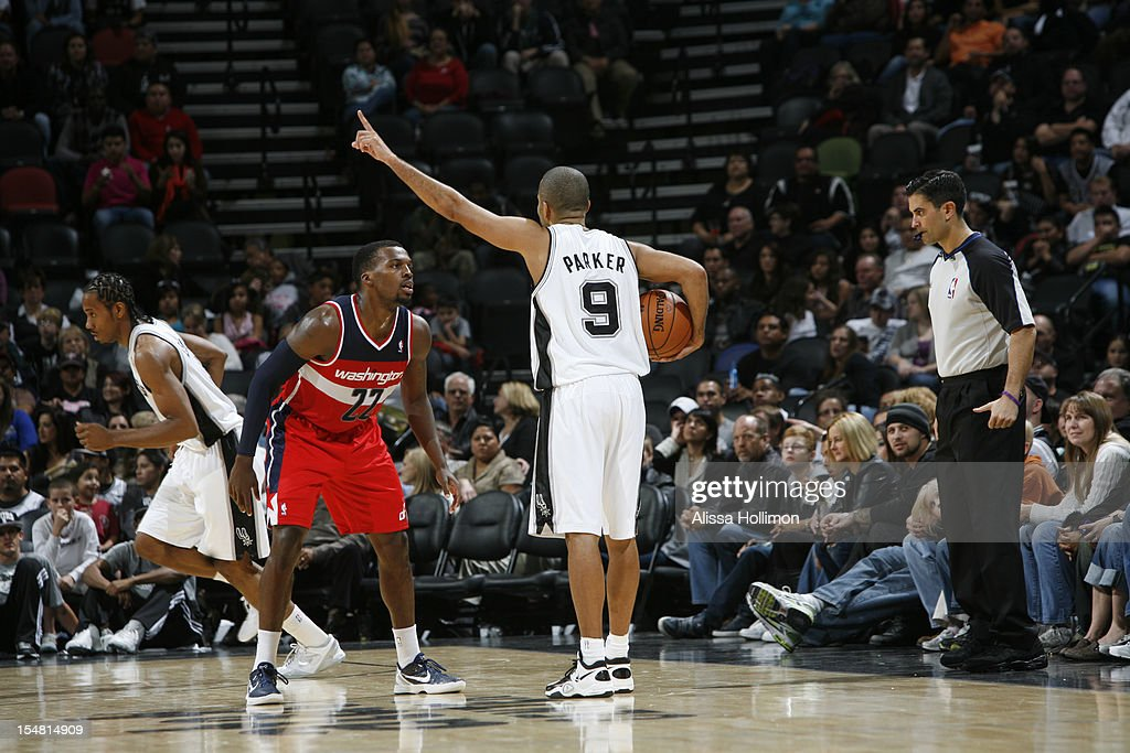 Tony Parker #9 of the San Antonio Spurs calls a play vs the Washington Wizards on October 26, 2012 at the AT&T Center in San Antonio, Texas.