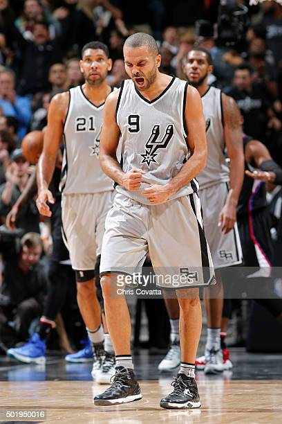 Tony Parker of the San Antonio Spurs celebrates against the Los Angeles Clippers on December 18 2015 at the ATT Center in San Antonio Texas NOTE TO...