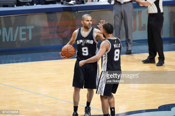 Tony Parker of the San Antonio Spurs celebrates during Game Six of the Western Conference Quarterfinals of the 2017 NBA Playoffs on April 27 2017 at...