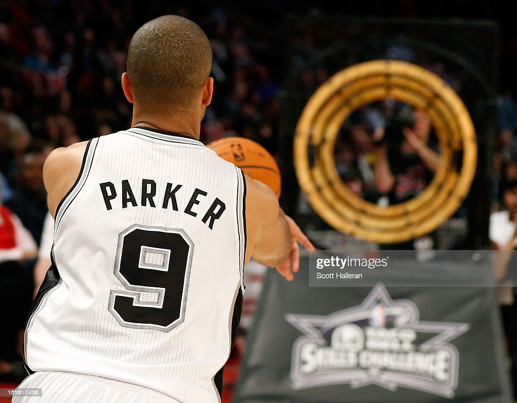 Tony Parker of the San Antonio Spurs competes during the Taco Bell Skills Challenge part of 2013 NBA All-Star Weekend at the Toyota Center on February 16, 2013 in Houston, Texas.