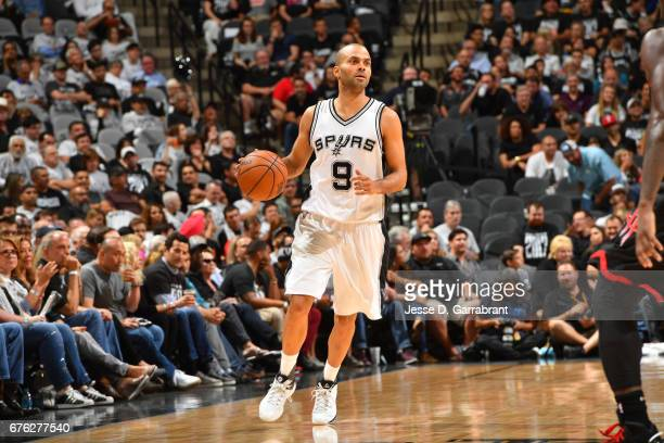 Tony Parker of the San Antonio Spurs drives against the Houston Rockets in Game One of the Western Conference Semifinals of the 2017 NBA Playoffs on...