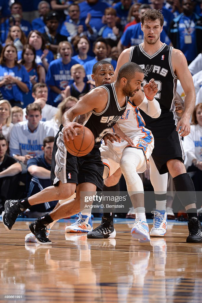 Tony Parker #9 of the San Antonio Spurs drives against the Oklahoma City Thunder in Game Four of the Western Conference Finals during the 2014 NBA Playoffs on May 27, 2014 at the Chesapeake Energy Arena in Oklahoma City,Oklahoma.