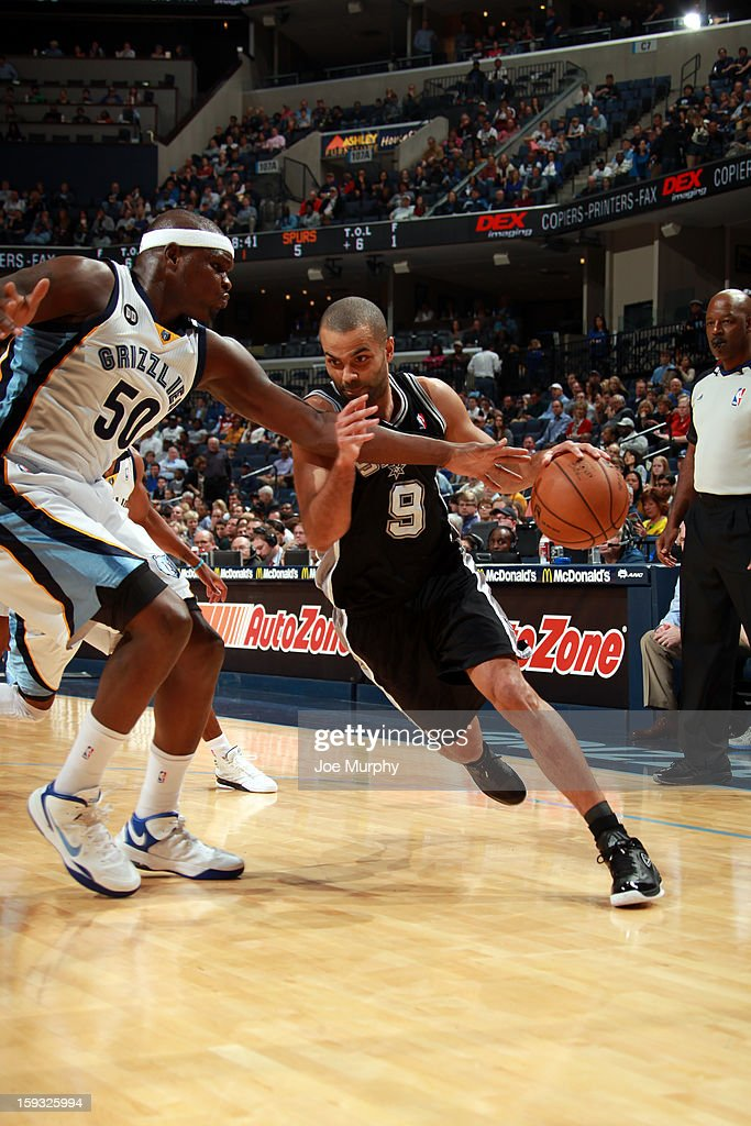 Tony Parker #9 of the San Antonio Spurs drives against Zach Randolph #50 of the Memphis Grizzlies on January 11, 2013 at FedExForum in Memphis, Tennessee.