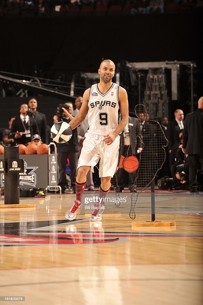 Tony Parker #9 of the San Antonio Spurs drives the ball during the 2013 Taco Bell Skills Challenge on State Farm All-Star Saturday Night as part of 2013 NBA All-Star Weekend on February 16, 2013 at Toyota Center in Houston, Texas.