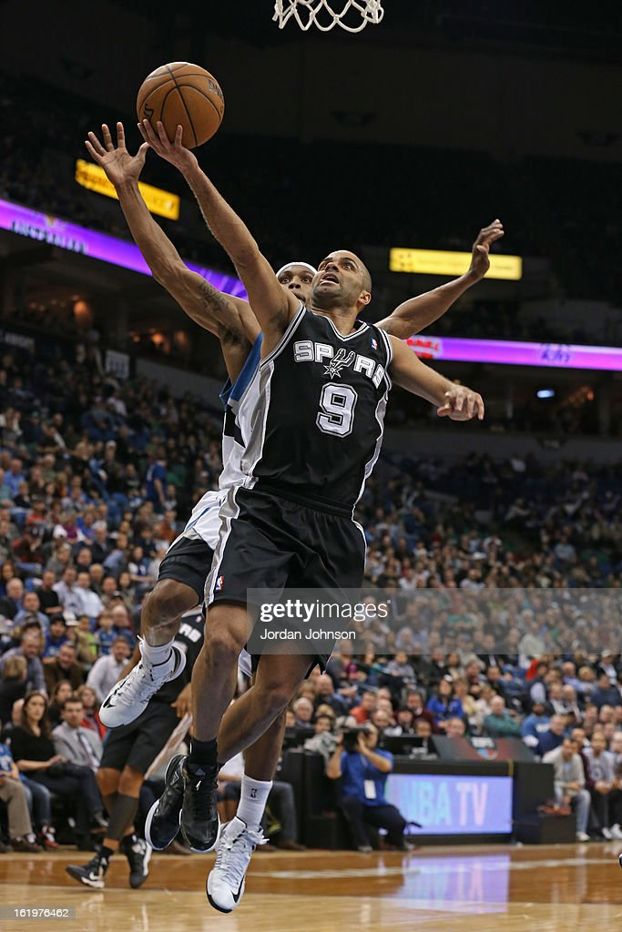 Tony Parker #9 of the San Antonio Spurs drives to the basket against the Minnesota Timberwolves on February 6, 2013 at Target Center in Minneapolis, Minnesota.