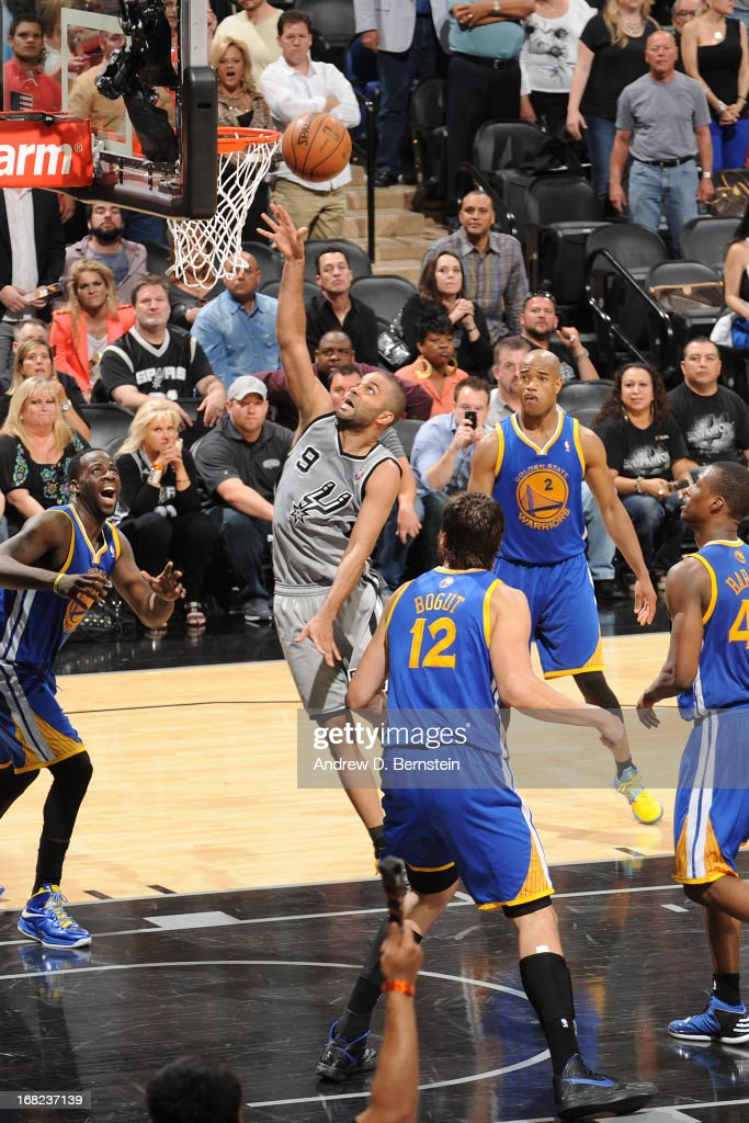 Tony Parker #9 of the San Antonio Spurs drives to the basket against the Golden State Warriors in Game One of the Western Conference Semifinals during the 2013 NBA Playoffs on May 6, 2013 at the AT&T Center in San Antonio, Texas.