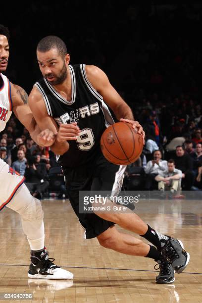 Tony Parker of the San Antonio Spurs drives to the basket against the New York Knicks on February 12 2017 at Madison Square Garden in New York City...