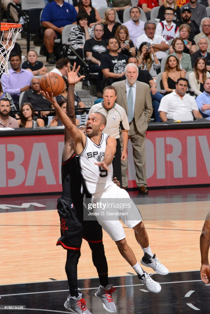 Tony Parker #9 of the San Antonio Spurs drives to the basket against the Houston Rockets during Game Two of the Western Conference Semifinals of the 2017 NBA Playoffs on May 3, 2017 at the AT&T Center in San Antonio, Texas.