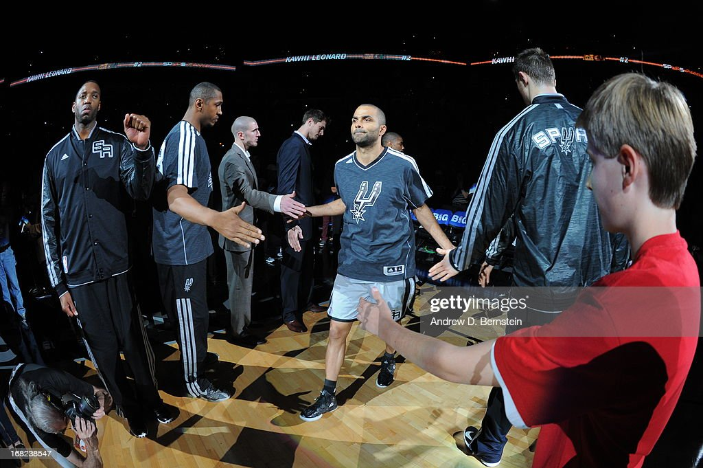 Tony Parker #9 of the San Antonio Spurs gets introduced before the game against the Golden State Warriors in Game One of the Western Conference Semifinals during the 2013 NBA Playoffs on May 6, 2013 at the AT&T Center in San Antonio, Texas.