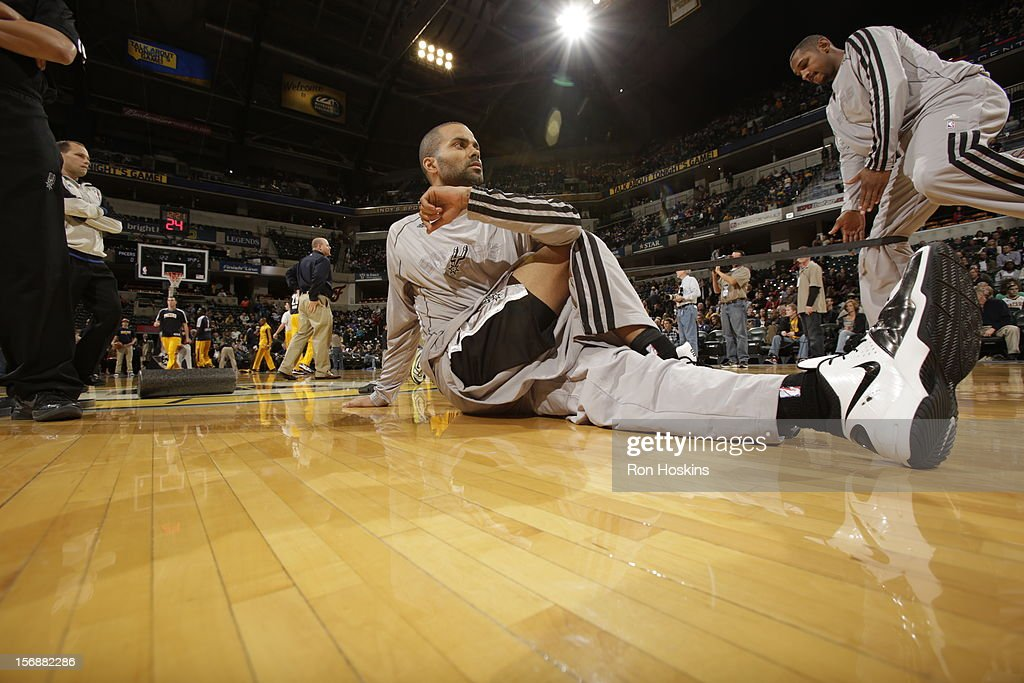 Tony Parker #9 of the San Antonio Spurs gets ready for a game on November 23, 2012 at Bankers Life Fieldhouse in Indianapolis, Indiana.