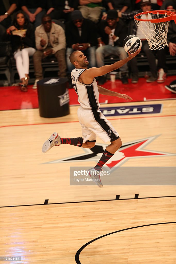 <a gi-track='captionPersonalityLinkClicked' href=/galleries/search?phrase=Tony+Parker&family=editorial&specificpeople=160952 ng-click='$event.stopPropagation()'>Tony Parker</a> #9 of the San Antonio Spurs glides to the basket during 2013 Taco Bell Skills Challenge on State Farm All-Star Saturday Night as part of 2013 NBA All-Star Weekend on February 16, 2013 at Toyota Center in Houston, Texas.