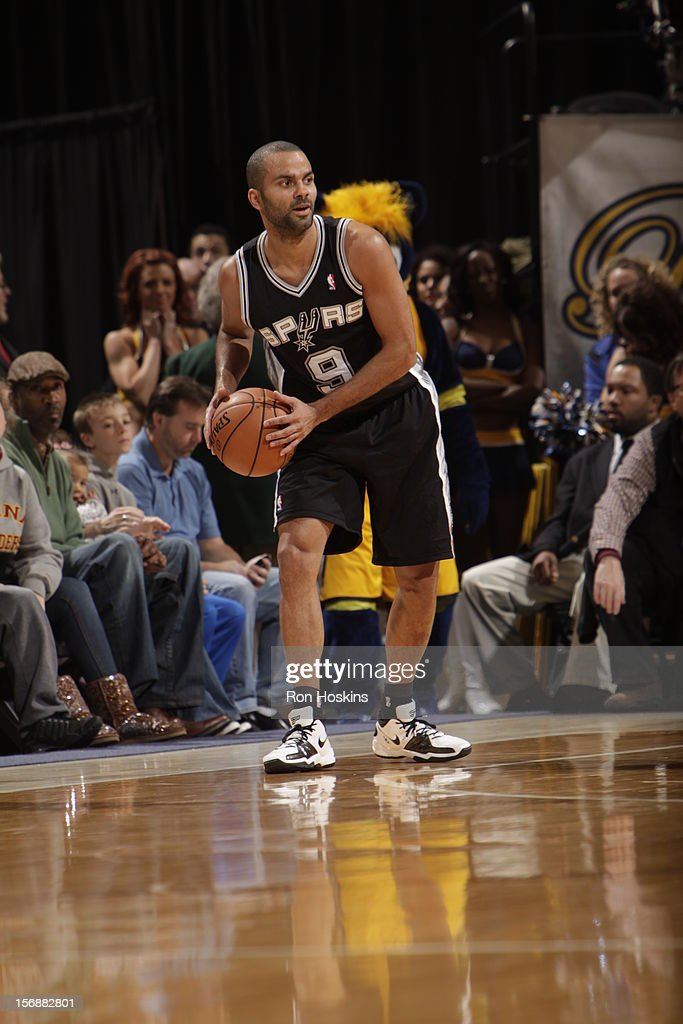 Tony Parker #9 of the San Antonio Spurs goes to pass the ball vs the Indiana Pacers on November 23, 2012 at Bankers Life Fieldhouse in Indianapolis, Indiana.