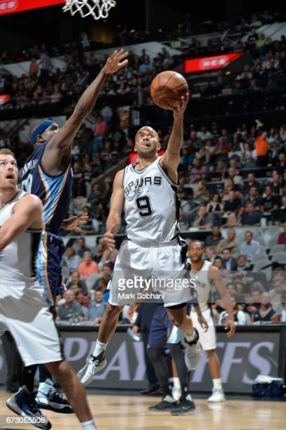 Tony Parker of the San Antonio Spurs goes up for a lay up against the Memphis Grizzlies during Game Five of the Western Conference Quarterfinals of...