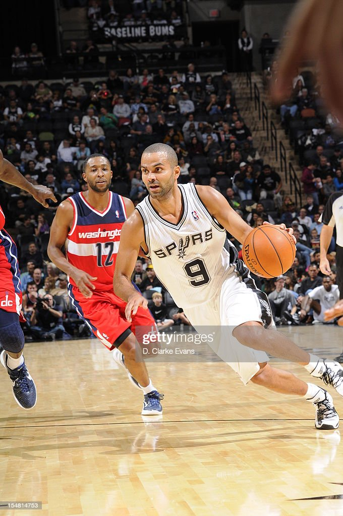 Tony Parker #9 of the San Antonio Spurs handles the ball against the Washington Wizards on October 26, 2012 at the AT&T Center in San Antonio, Texas.