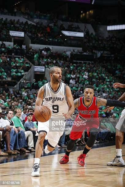 Tony Parker of the San Antonio Spurs handles the ball against the Portland Trail Blazers on March 17 2016 at the ATT Center in San Antonio Texas NOTE...